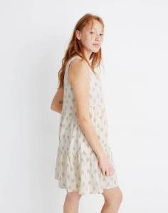 Sleeveless Button-Front Tiered Mini Dress in Ikat