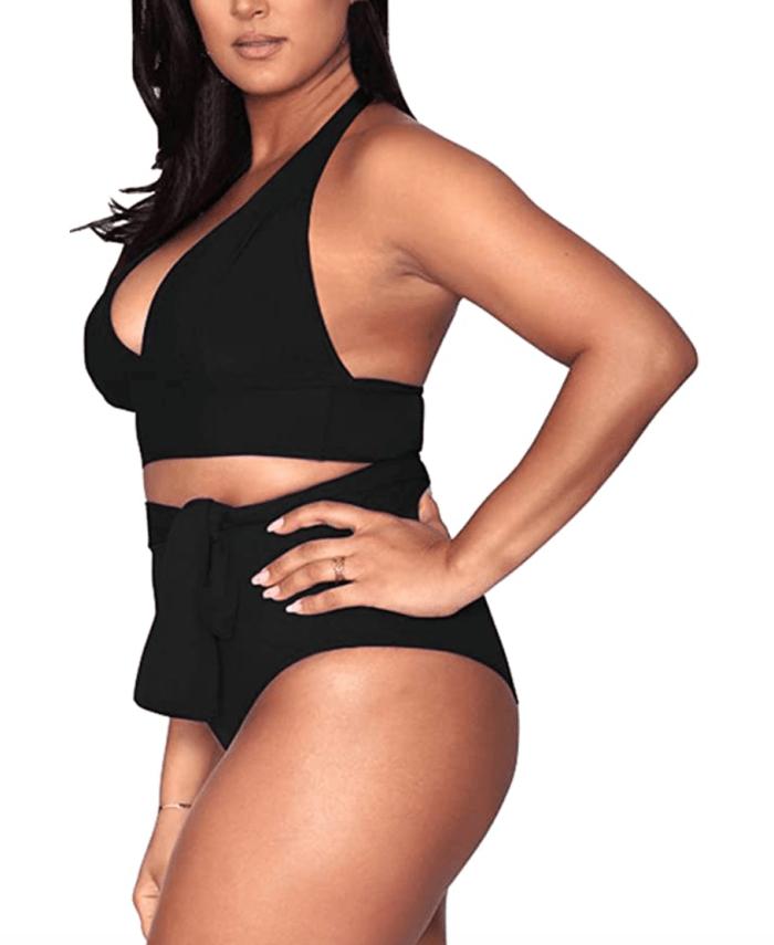 Sovoyontee Women's Plus Size High Waisted Tummy Control Swimwear