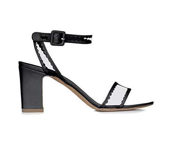 Tabitha Simmons 'Leticia Frill' Block Heel Sandal (Black Calf)