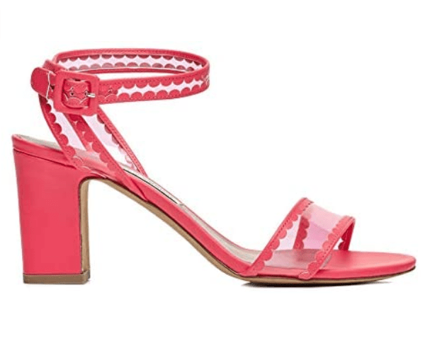 Tabitha Simmons 'Leticia Frill' Block Heel Sandal (Pink Fluo)