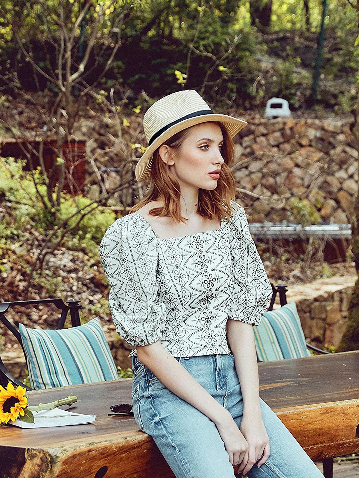 accsa Wide Brim Straw Panama Beach Sun Hat