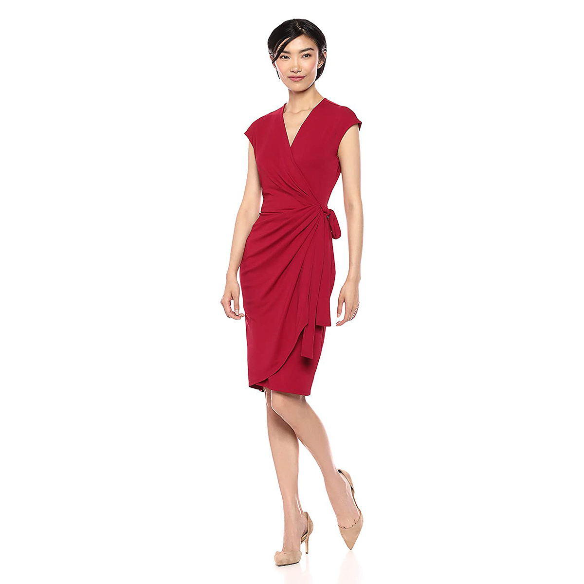 Lark & Ro Classic Cap Sleeve Matte Jersey Wrap Dress