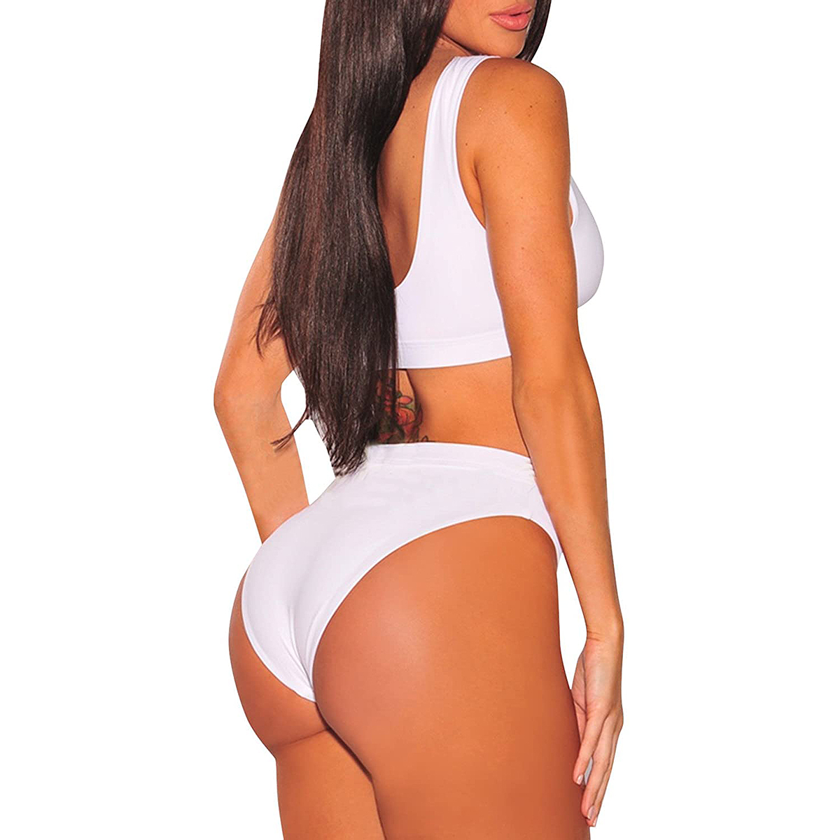 Selowin Tank Crop Top High-Waisted Cheeky Bikini Set