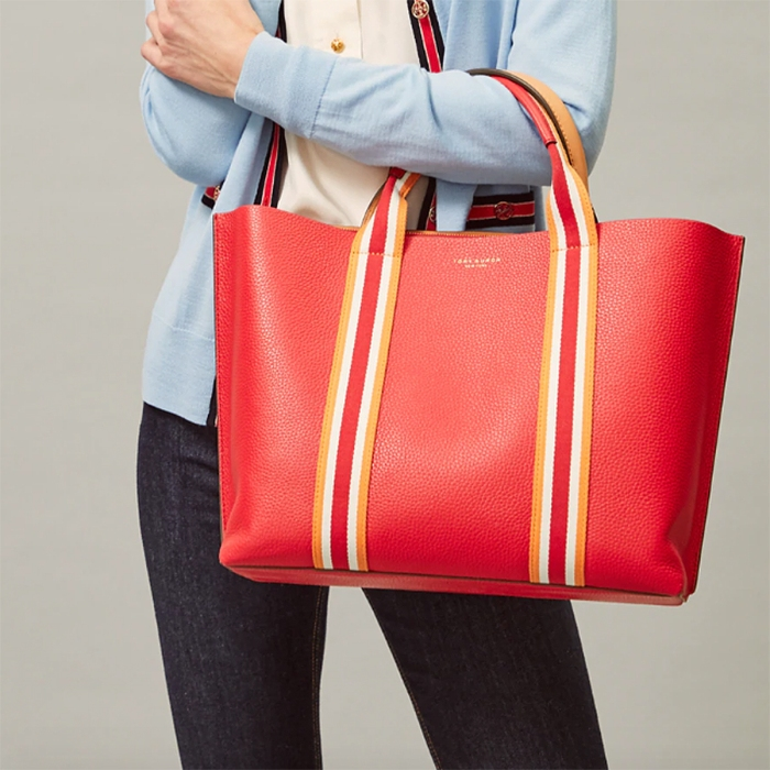 Cloth bag turning bag stripe beige red