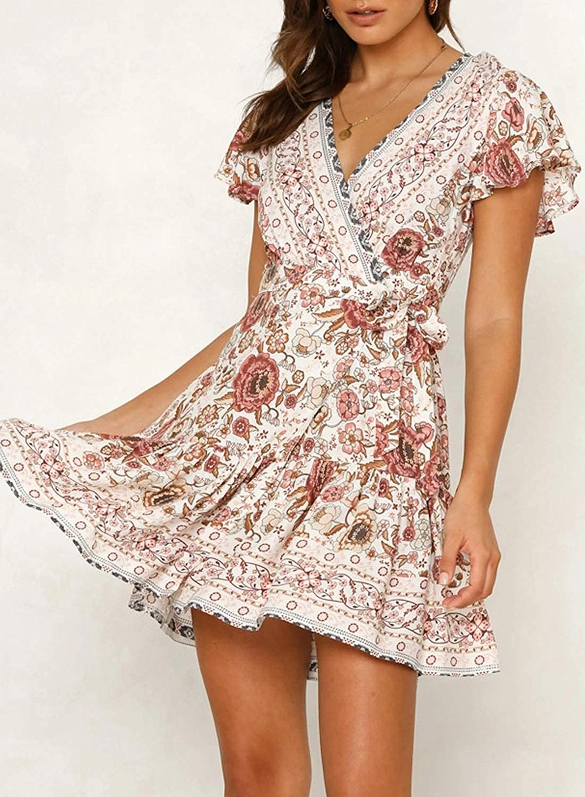 ZESICA Summer Wrap V Neck Bohemian Mini Dress