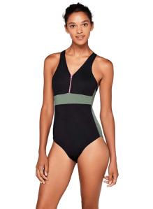 AURIQUE Women's Zip Front Swimming Costume