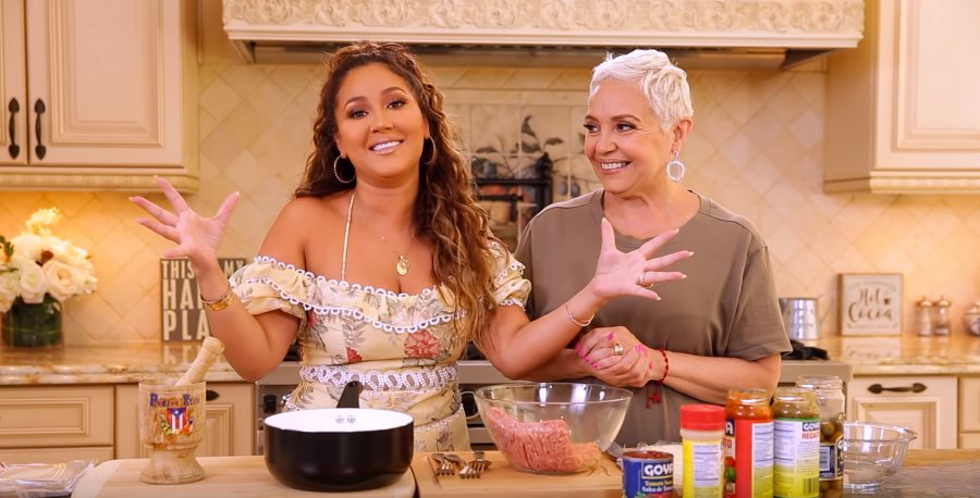 Adrienne Bailon cooking with mom