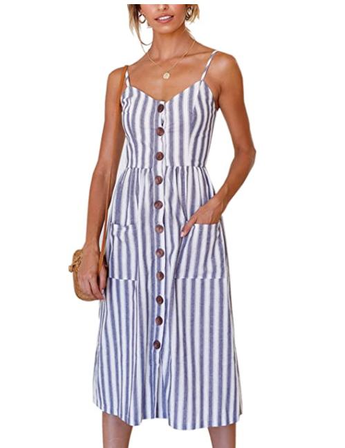 Angashion Women's Adjustable Spaghetti Strap Button Down Swing Midi Dress with Pockets