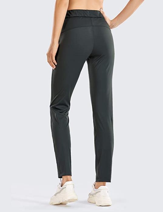 CRZ YOGA Women's Stretch Lounge Sweatpants (Olive Grey)