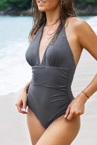 CUPSHE Women's Shirring Design V-Neck Low Back One Piece Swimsuit (Dark Grey)