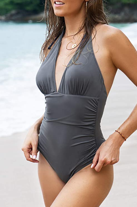 CUPSHE Women's Shirring Design V-Neck Low Back One Piece Swimsuit (Dark Grey)