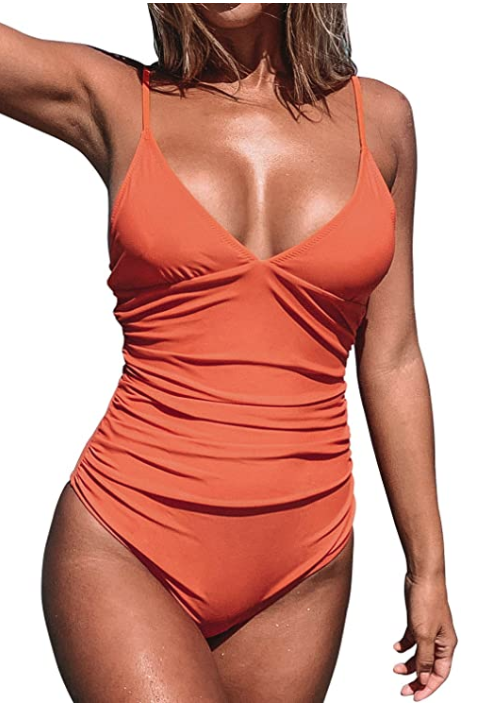 CUPSHE Women's Shirring Design V-Neck Low Back One Piece Swimsuit (Orange)