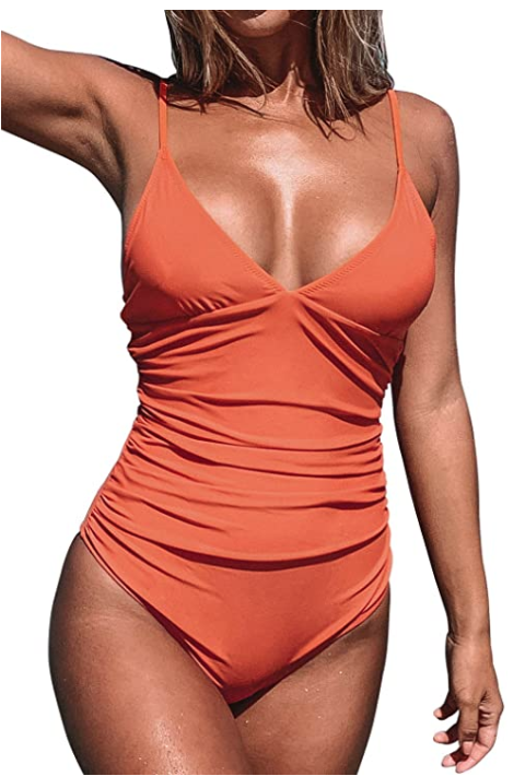 CUPSHE Women's Shirring Design V-Neck Low Back One Piece Swimsuit
