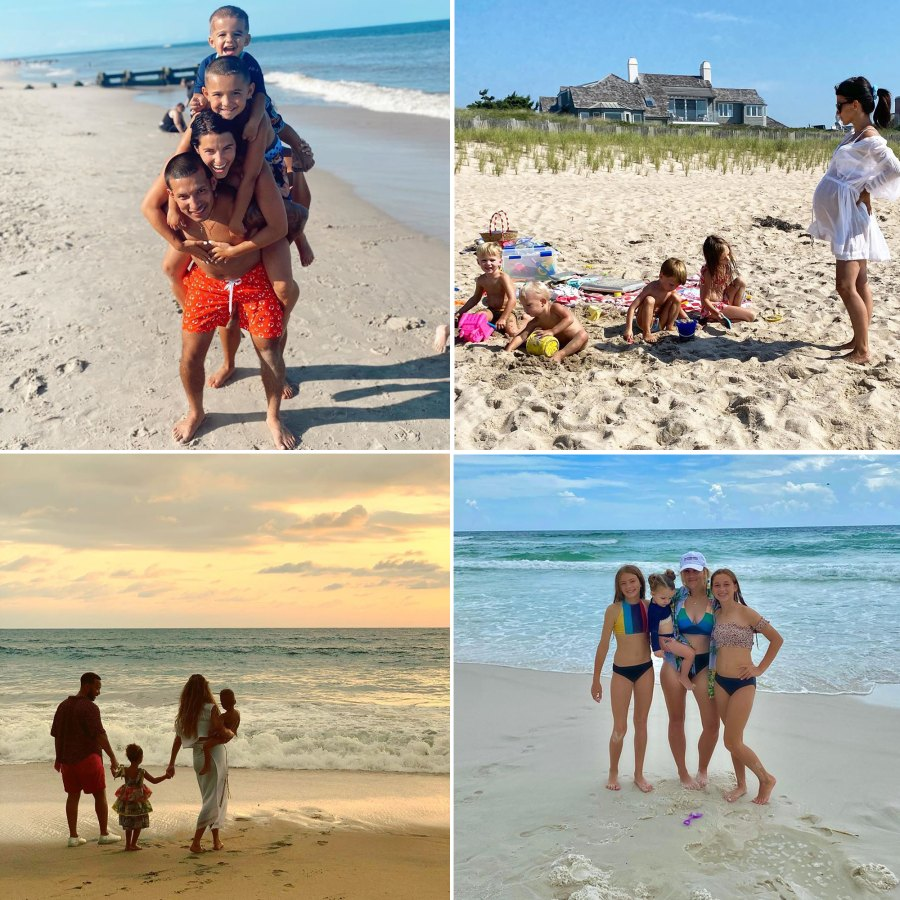 Celebs on the beach with their families