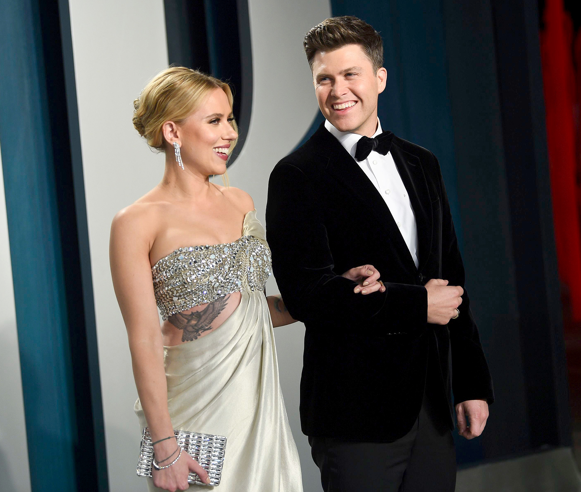 Colin Jost Blames Scarlett Johansson for Well-Placed Guitar on SNL