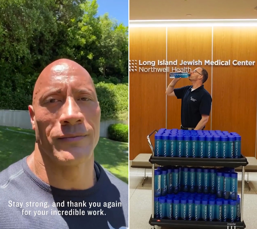 Dwayne Johnson Donates 700,000 Water Bottles to Frontline Workers2