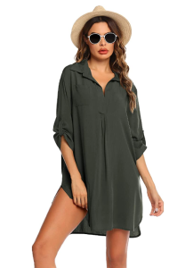 Ekouaer Women's Swimsuit Beach Cover Up (Army Green)