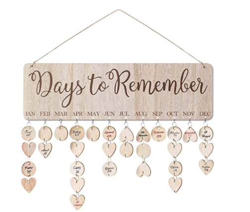 ElekFX Gift Reminder Calendar Plaque Wooden Wall Hanging with 100 Slices