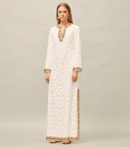 Embellished Lace Caftan Dress