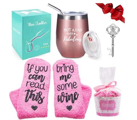 FUNCUBE Wine Tumbler with Saying + Cupcake Wine Socks Gift Set
