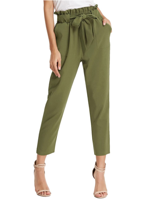 GRACE KARIN Women's Cropped Paper Bag Waist Pants with Pockets (Army Green)