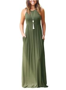 GRECERELLE Women's Sleeveless Racerback Loose Plain Maxi Dress (Army Green)