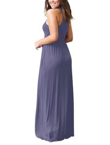GRECERELLE Women's Sleeveless Racerback Loose Plain Maxi Dress (Purple Gray)