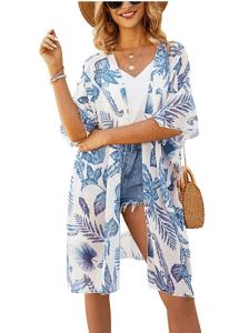 Hibluco Women's Sheer Chiffon Kimono Cardigan