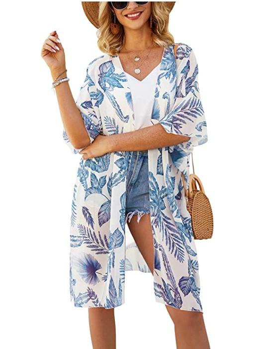 Cárdigan kimono de gasa transparente para mujer Hibluco