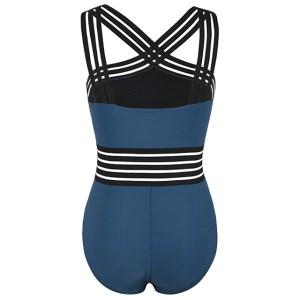 Hilor Women's One Piece Front Crossover Swimsuit (Aquamarine Blue)