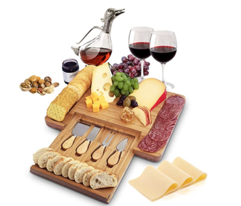 Home Euphoria Natural Bamboo Cheese Board and Cutlery Set with Slide-out Drawer