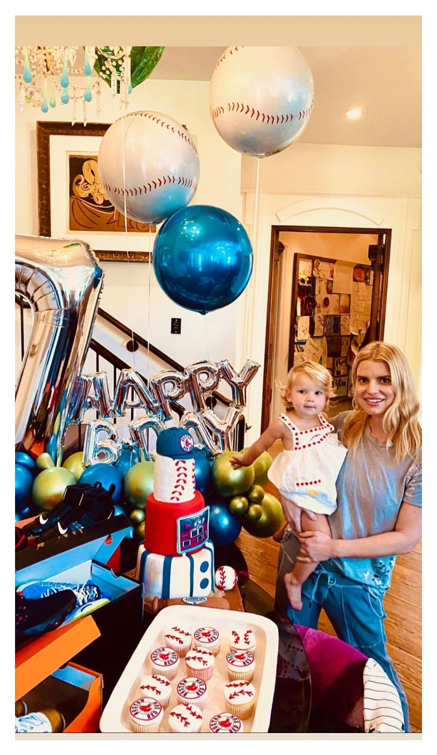 Jessica Simpson Celebrates Son Ace 7th Birthday With Baseball Theme