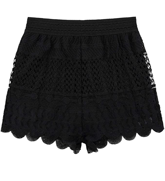 KGYA Women's Sexy Elastic High Waisted Crochet Lace Shorts