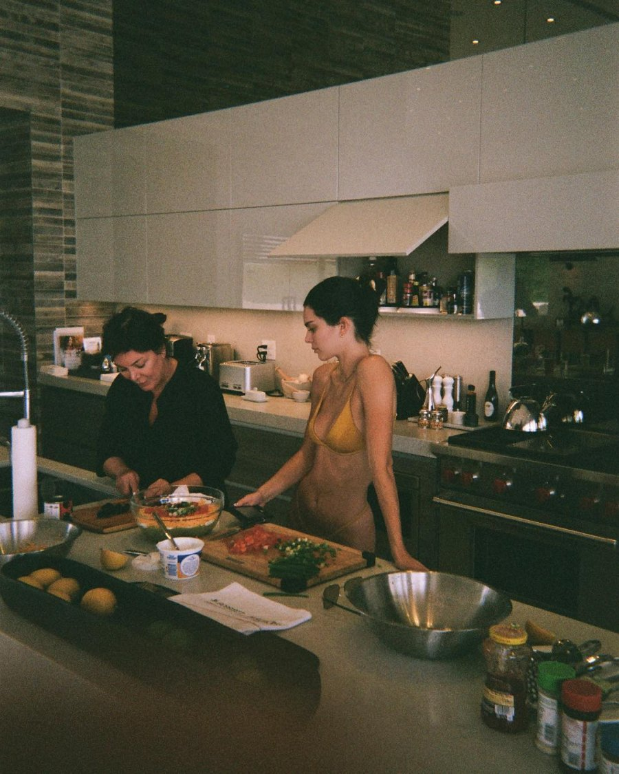 Kendall Jenner cooking with Kris Jenner