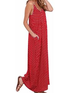 LILBETTER Women V-Neck Polka Dot Print Maxi Dress (Red Dot)