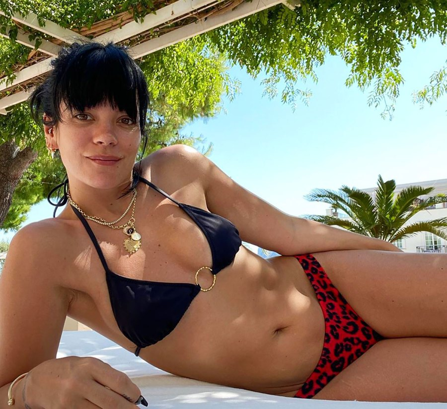 Lily Allen Celebrates 1 Year Sober in a Chic Mismatched Bikini