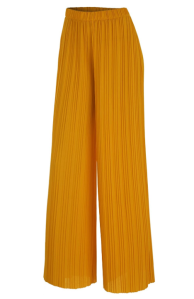 Made By Johnny Women's Premium Pleated Maxi Wide Leg Palazzo Pants (Mustard)