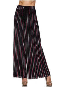 Made By Johnny Women's Premium Pleated Maxi Wide Leg Palazzo Pants