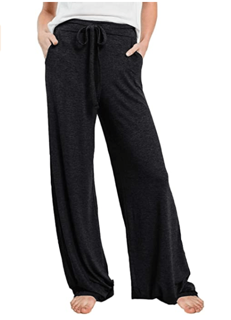 PRETTYGARDEN Women's Casual Drawstring Waist Stretchy Loose Lounge Pants (Black)