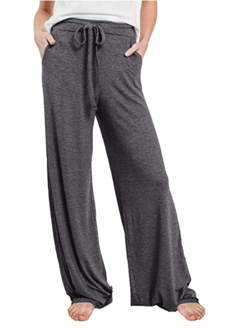 PRETTYGARDEN Women's Casual Drawstring Waist Stretchy Loose Lounge Pants (Dark Grey)
