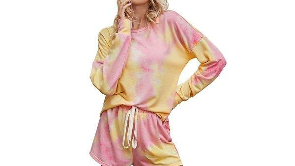 PRETTYGARDEN Women's Tie Dye Printed Pajamas Set