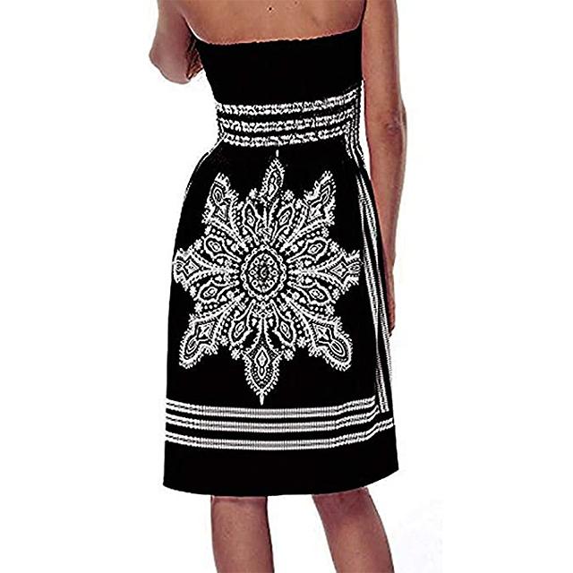 QegarTop Women's Summer Strapless Beach Dress (Black)