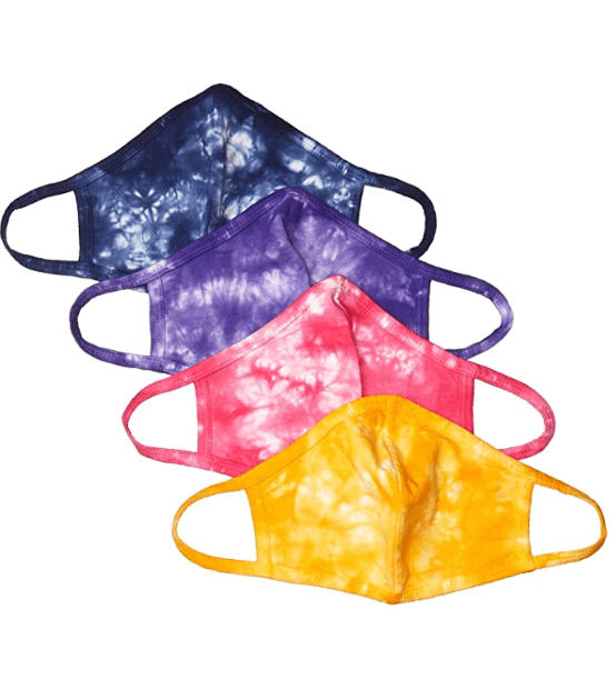 Quality Durables Adults and Kids 4-Pack Reusable Face Covering (Tie Dye Multi Pack)