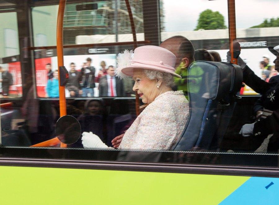 Queen Elizabeth II rides the bus
