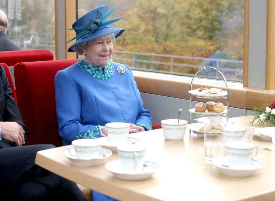 Queen Elizabeth II tea on a train