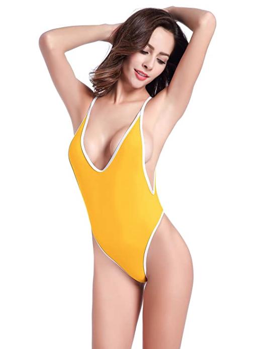 SHEKINI Women's High Cut One Piece Backless Thong Brazilian Bikini Swimsuit (Lily Yellow)