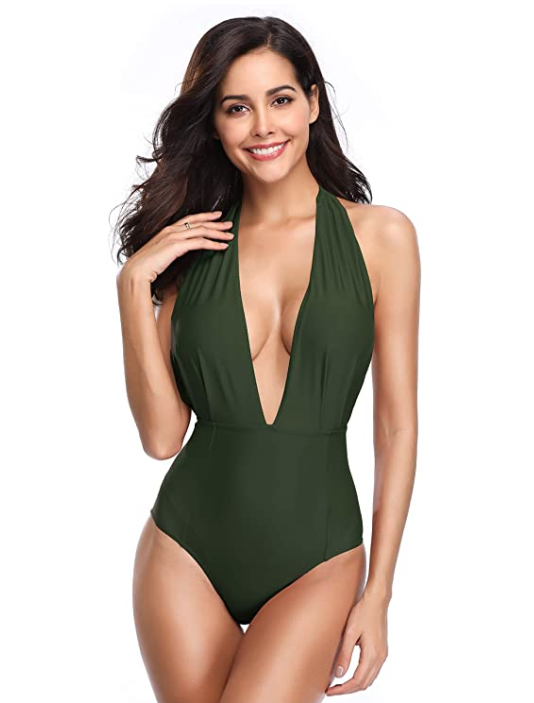 SHEKINI Women's Monokini Swimwear (Army Green)