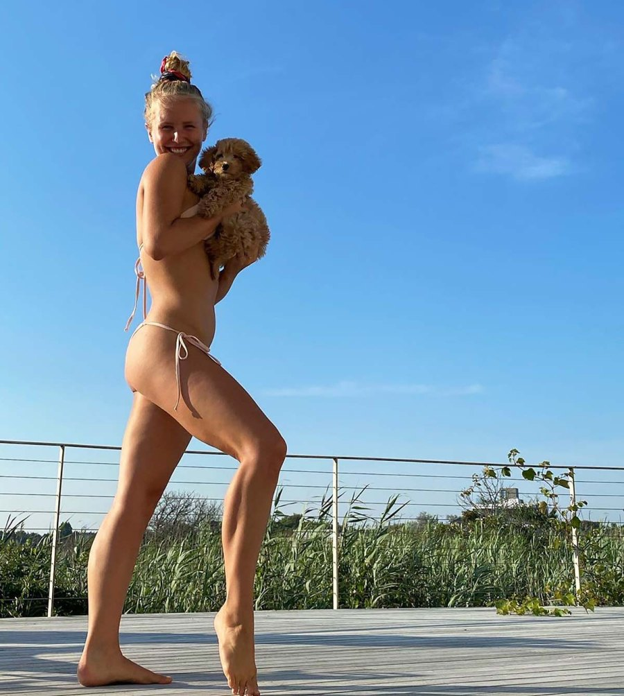 Sailor Brinkley-Cook Plays With a Pup in an Adorable Blush Bikini