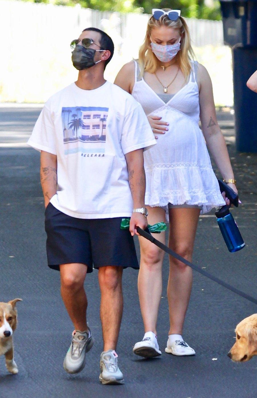 Sophie Turner Cradles Her Baby Bump on a Walk With Joe Jonas