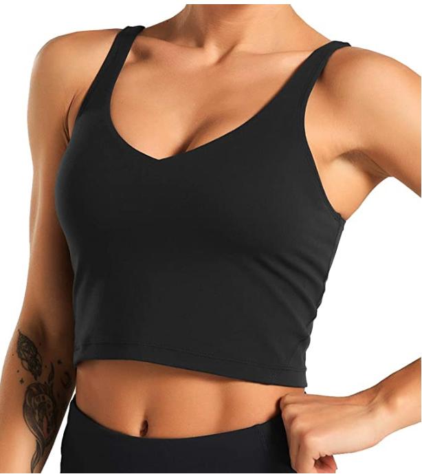 THE GYM PEOPLE Women's Longline Sports Bra (Black)